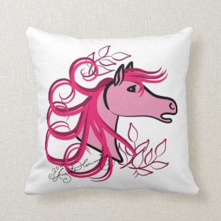 Elegant Horse Head Rose Pink Throw Pillow