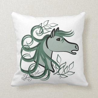 Elegant Horse Head Teal Blue Throw Pillow