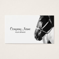 Elegant Horse Head White Business Card at Zazzle