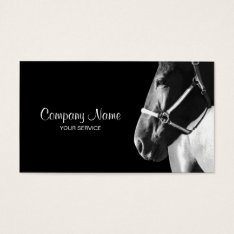 Elegant Horse Side Head Black Business Card at Zazzle