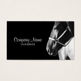 Equestrian business cards templates zazzle elegant horse side head black business card yadclub Images