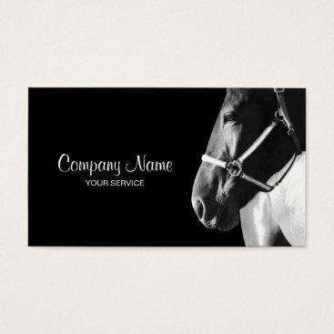 Professional Business Elegant Horse Side Head Black Business Card
