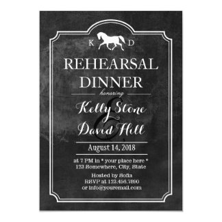 Elegant Horse Wedding Rehearsal Dinner Card