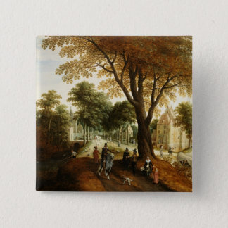 Elegant Horsemen and figures on a path Button
