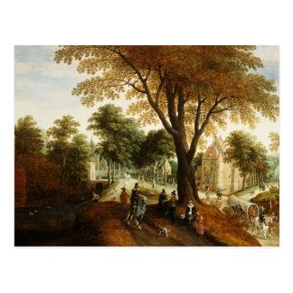 Elegant Horsemen and figures on a path Postcard