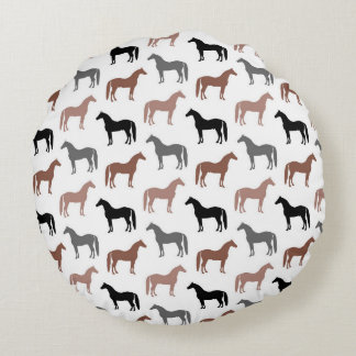 Elegant Horses Brown, Black and Gray Pattern Round Pillow