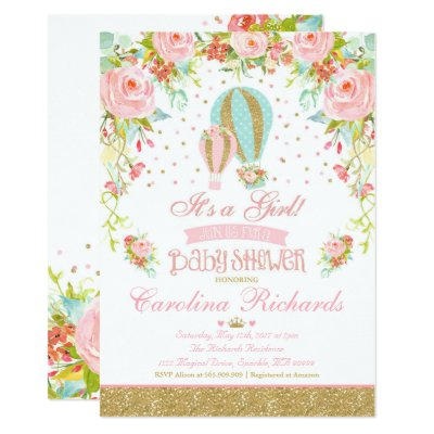 Attractive Elegant Baby Balloon Twins Baby Shower Invitation | Zazzle