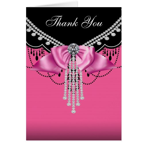 Elegant Hot Pink and Black Thank You Cards