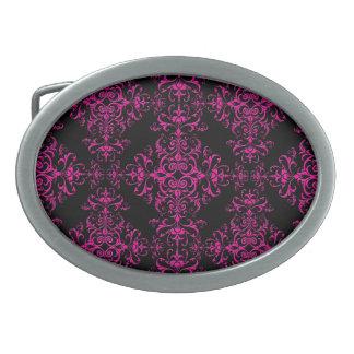Elegant Hot Pink and Black Victorian Style Damask Oval Belt Buckle