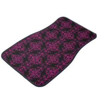 Elegant Hot Pink and Black Victorian Style Damask Car Mat