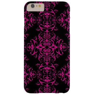Elegant Hot Pink and Black Victorian Style Damask Barely There iPhone 6 Plus Case