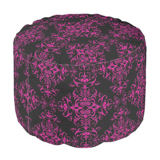 Elegant Hot Pink and Black Victorian Style Damask Round Pouf