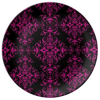 Elegant Hot Pink and Black Victorian Style Damask Porcelain Plates