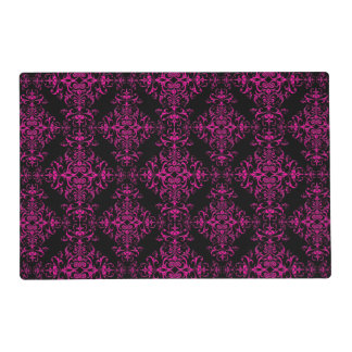 Elegant Hot Pink and Black Victorian Style Damask Placemat