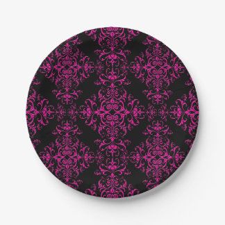 Elegant Hot Pink and Black Victorian Style Damask 7 Inch Paper Plate