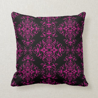 Elegant Hot Pink and Black Victorian Style Damask Throw Pillow