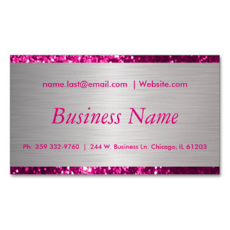 Elegant Hot Pink and Brush Silver Steel Business Card Magnet