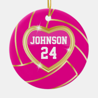 Elegant Hot Pink and Gold Volleyball Ceramic Ornament
