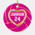 Elegant Hot Pink and Gold Volleyball Christmas Tree Ornament