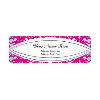 Elegant Hot Pink and Silver Embossed Damask Custom Return Address Labels
