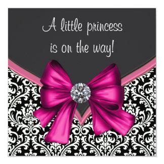 Elegant Hot Pink Black Damask Princess Baby Shower Card