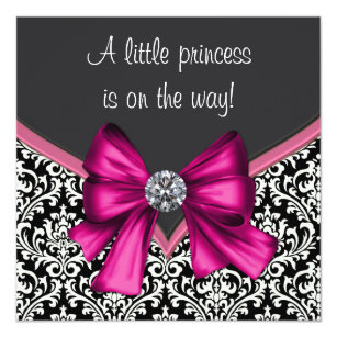 Hot pink black baby shower gifts on zazzle elegant hot pink black damask princess baby shower invitation filmwisefo