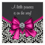 Elegant Hot Pink Black Damask Princess Baby Shower Personalized Invites