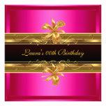 Elegant Hot Pink Black Gold Birthday Party Custom Invites