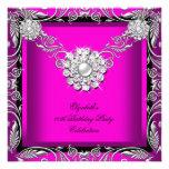 Elegant Hot Pink Black Silver Birthday Party Custom Invitations