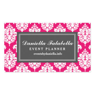 Elegant Hot Pink Damask Personalized Double-Sided Standard Business Cards (Pack Of 100)