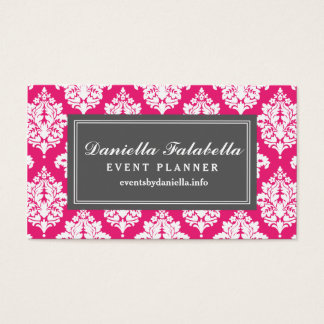 Elegant Hot Pink Damask Personalized Business Card