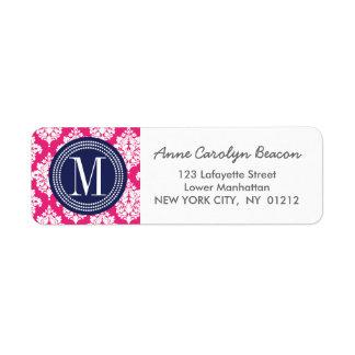 Elegant Hot Pink Damask Personalized Label