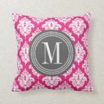Elegant Hot Pink Damask Personalized Pillow