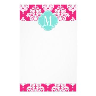 Elegant Hot Pink Damask Personalized Custom Stationery