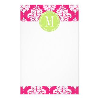 Elegant Hot Pink Damask Personalized Stationery Paper
