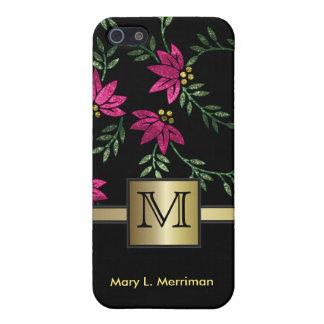 Elegant Hot Pink Floral Glitter | Monogram iPhone SE/5/5s Case