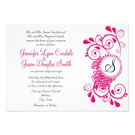 Elegant Hot Pink Flourish Monogram Wedding Invites Zazzle