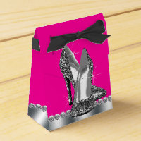 Elegant Hot Pink Glitter High Heel Shoe Favor Box