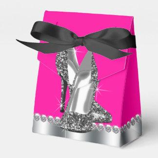 Elegant Hot Pink Glitter High Heel Shoe Favor Boxes
