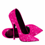 "Elegant Hot Pink Glitter High Heel Shoes Cutout<br><div class=""desc"">Elegant hot pink glitter high heel shoe photo sculpture. You can choose your size, quantity and product type by choosing the customize it button to begin. Please note - all of the designs you will find on Zazzle are printed graphics with no actual glitter, jewels, bows, raised, embossed, or added...</div>"
