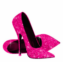 Elegant Hot Pink Glitter High Heel Shoes Cutout