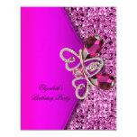 Elegant Hot Pink Glitter Jewel Birthday Party Announcement