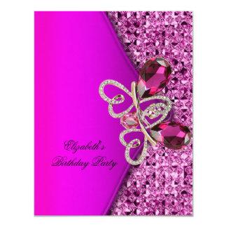 Elegant Hot Pink Glitter Jewel Birthday Party 4.25x5.5 Paper Invitation Card