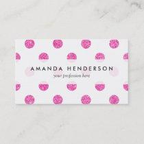Elegant Hot Pink Glitter Polka Dots Pattern Business Card
