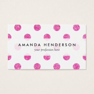 Elegant Hot Pink Glitter Polka Dots Pattern Business Card