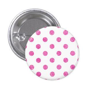 Elegant Hot Pink Glitter Polka Dots Pattern Button