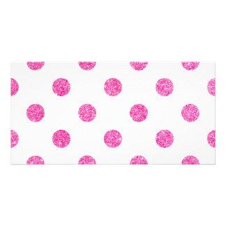 Elegant Hot Pink Glitter Polka Dots Pattern Card