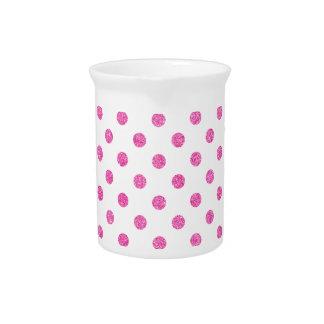 Elegant Hot Pink Glitter Polka Dots Pattern Drink Pitcher