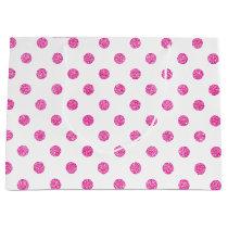 Elegant Hot Pink Glitter Polka Dots Pattern Large Gift Bag