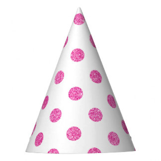 Elegant Hot Pink Glitter Polka Dots Pattern Party Hat